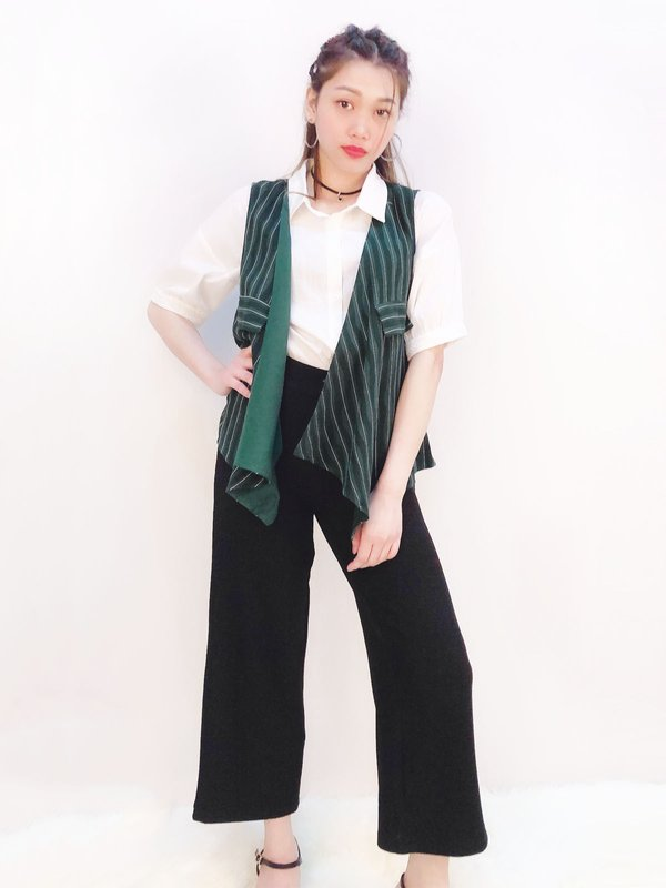 SLEEVELESS OPEN VEST (DARK GREEN/ CREAM)