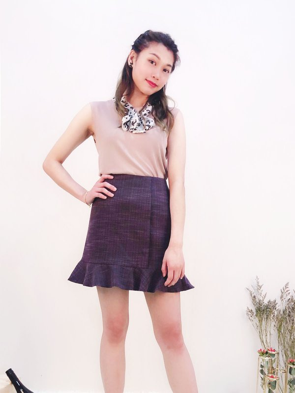 FLARED HEM SKIRT (DARK PURPLE / DARK GREY)