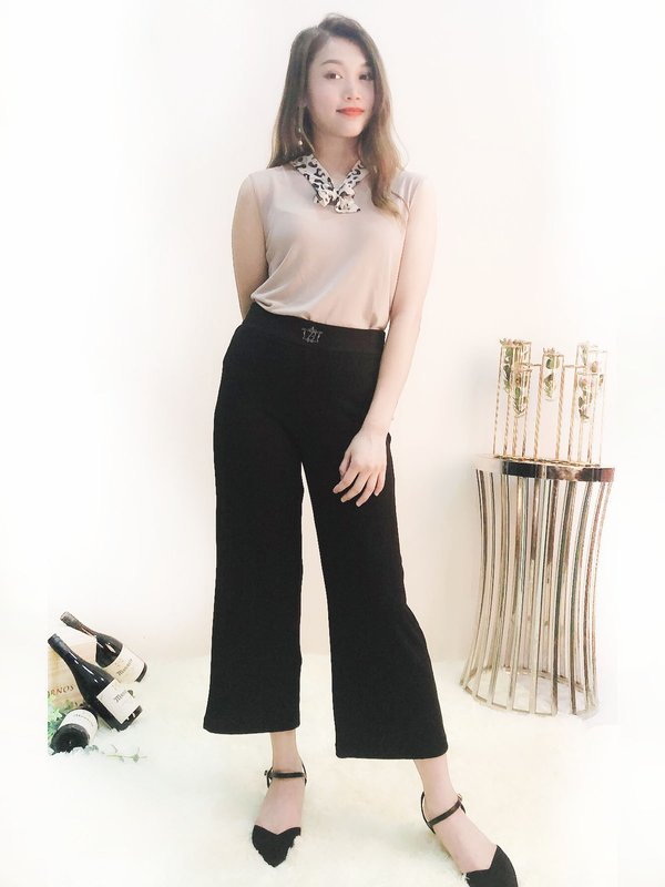 BEGA KNIT WIDE LEG PANTS  (BLACK)