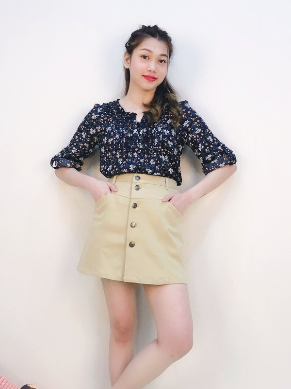 BUTTON DOWN A LINE SKIRT (COCO)