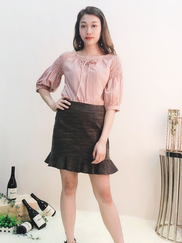 LOVE DOT FRONT RIBBON BLOUSE (MAUVE)