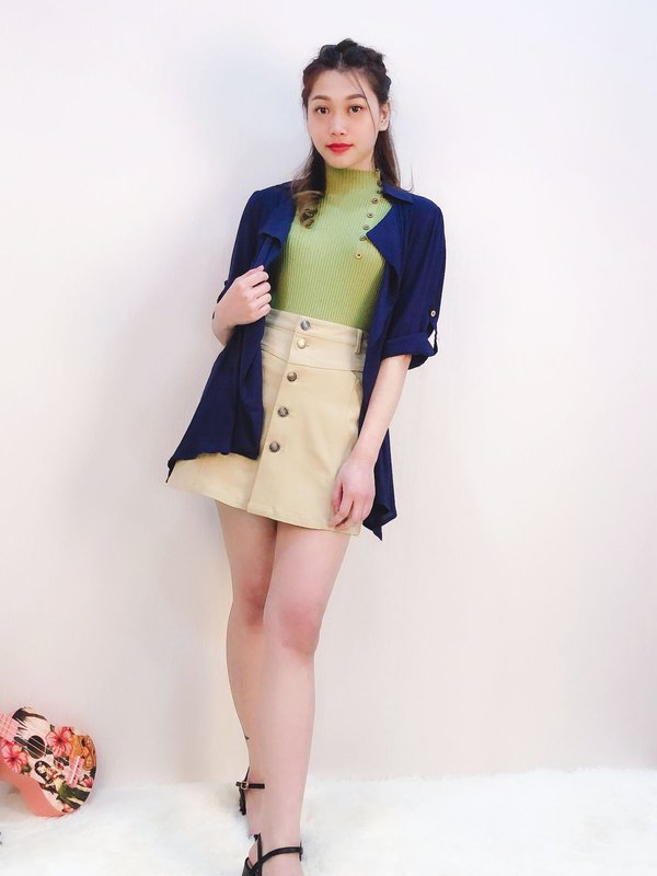 SOFT RUFFLE JACKET (DARK BLUE)