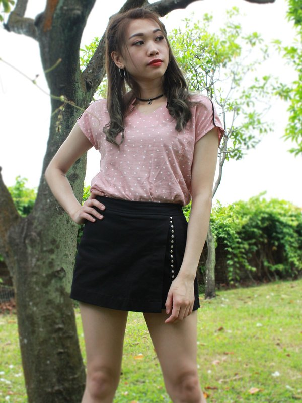 STARRY NIGHT SHORT SLEEVE TOP (CHAMPAGNE PINK)