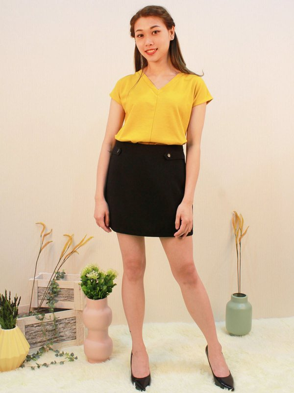 BOLD HEM V- NECK SHIRT (LEMON)