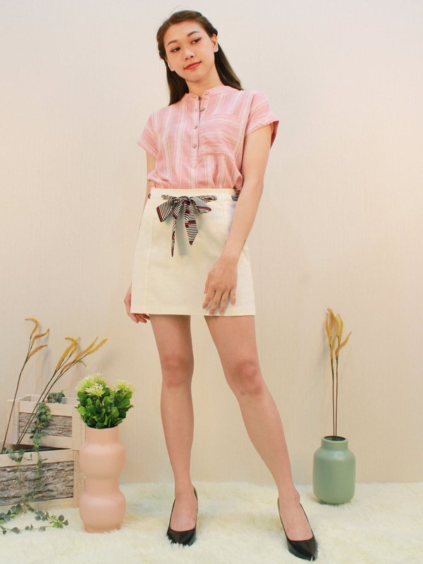 KRIS BUTTON UP BLOUSE (CHAMPAGNE PINK)