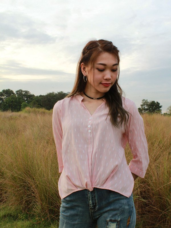 V NECK PADDY TOP (CHAMPAGNE PINK)