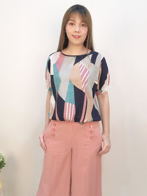 SHIRT SLEEVE ABSTRACT TOP (CHAMPAGNE PINK)