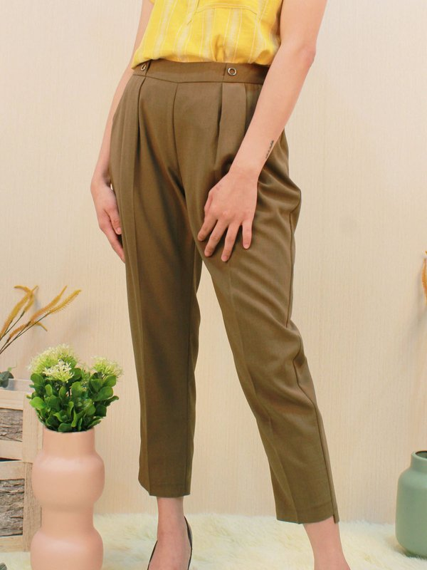 CAMI RING PEG LEG PANTS (ARMY GREEN)