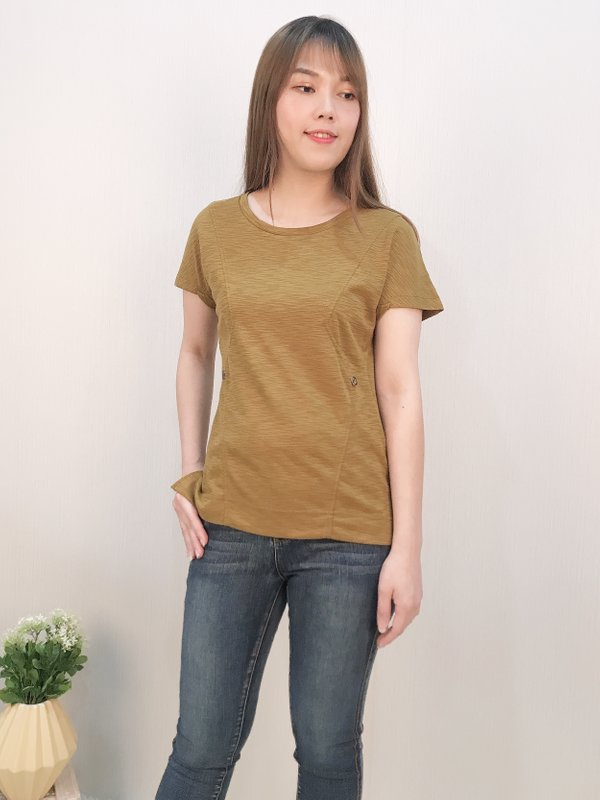 ZIG ZAG BUTTON TOP (MUSTARD)
