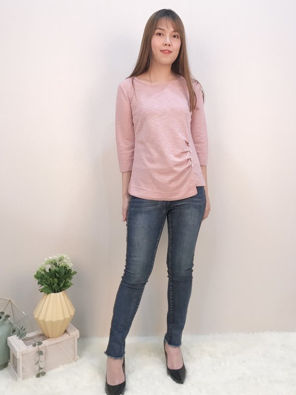 THREE QUATER PEARL TOP (CHAMPAGNE PINK)