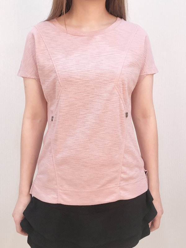 ZIG ZAG BUTTON TOP (CHAMPAGNE PINK)