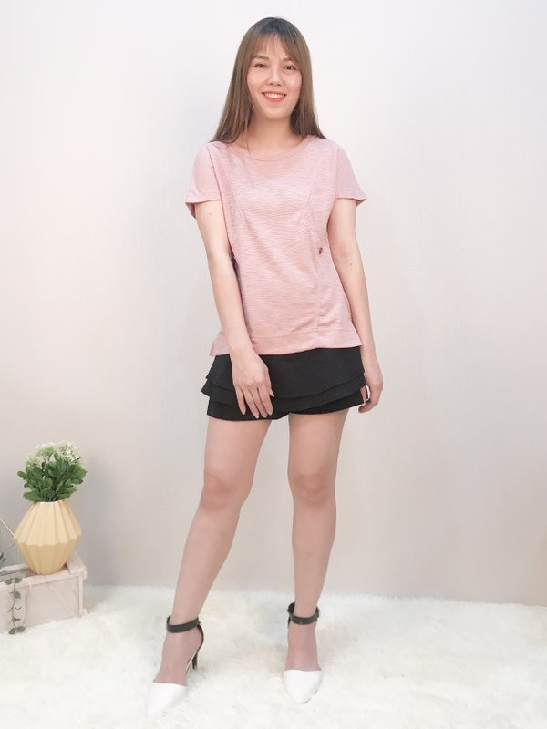 TS46758CHPI ZIG ZAG BUTTON TOP (CHAMPAGNE PINK)