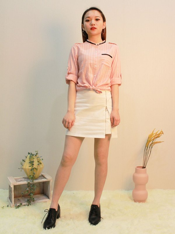 THREE QUATER SLEEVE BUTTON UP BLOUSE (CHAMPAGNE PINK)