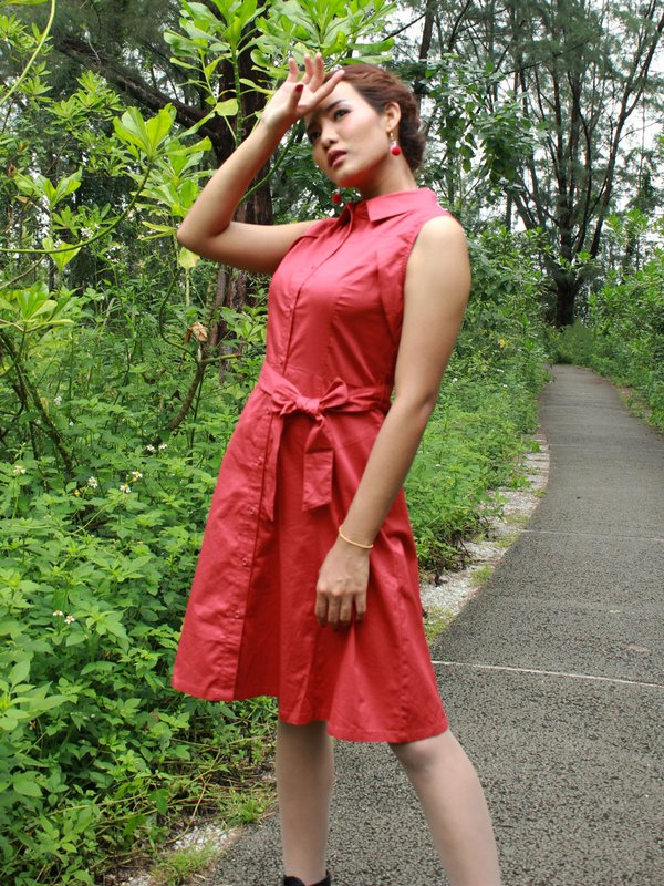 BUTTON UP DRESS  (SCARLET)