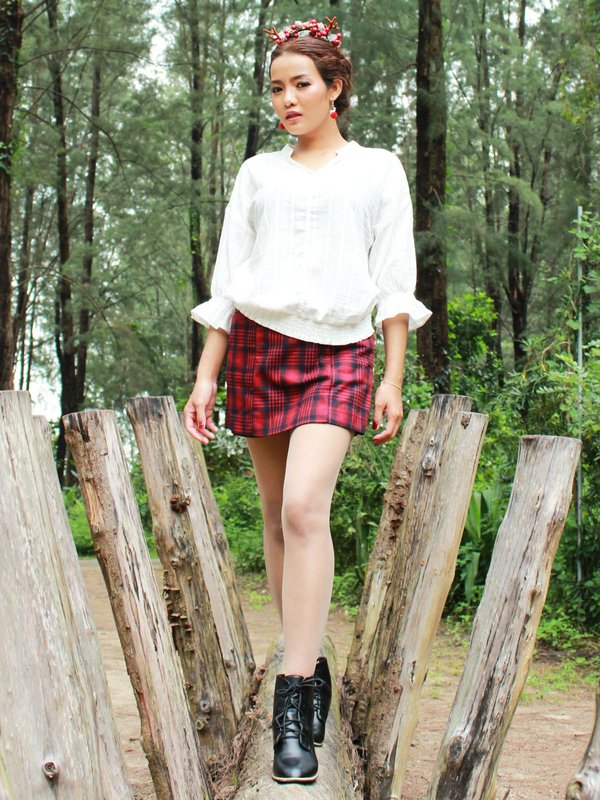 CHECKED SKORT (RED)
