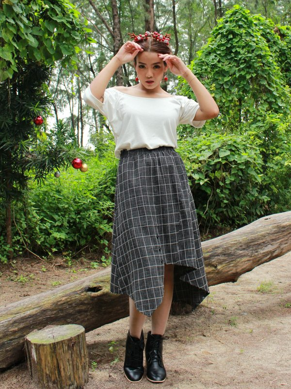 CHECKED MIDI SKIRT (BLACK)