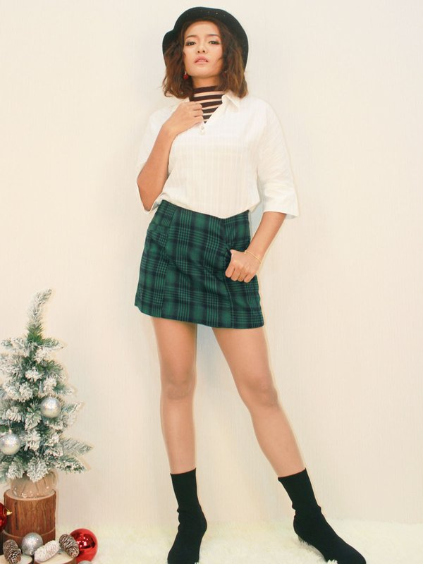 CHECKED SKORT (DARK GREEN)