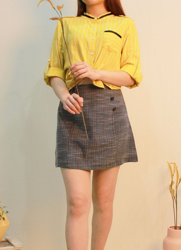 THREE QUATER SLEEVE BUTTON UP BLOUSE (LEMON)