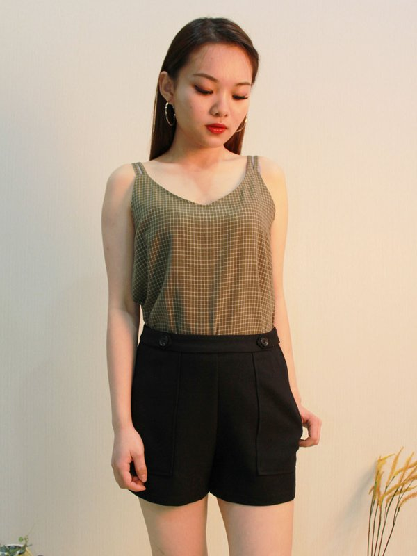 DOUBLE STRIPE GRID TOP(ARMY GREEN)