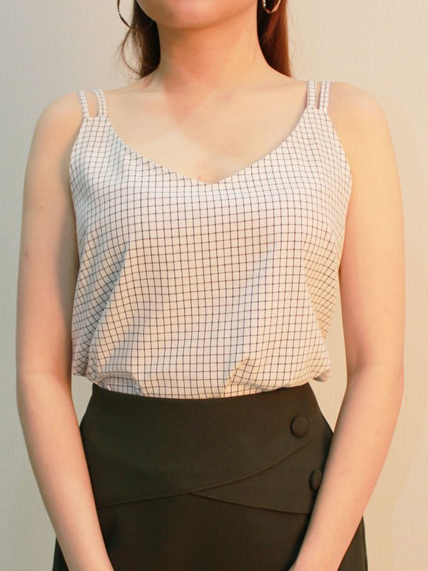 DOUBLE STRIPE GRID TOP (CREAM)