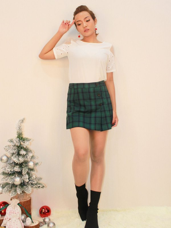 CHECKERED BUTTON SKORT (DARK GREEN)