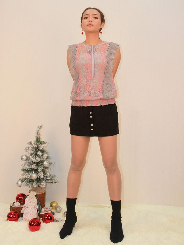 SLEEVELESS LACE TOP (PINK)