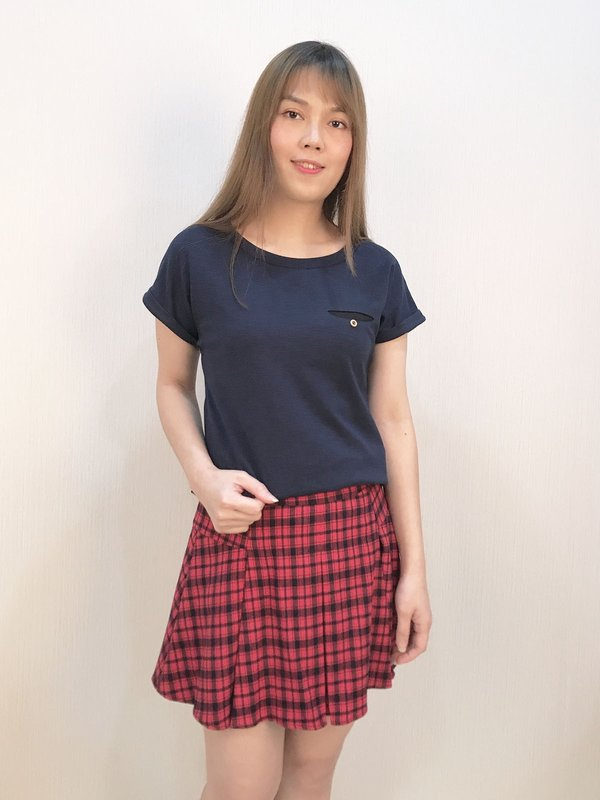 TARTAN PLAID SKIRT (RED)