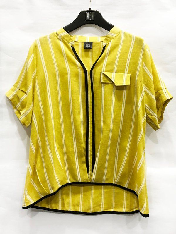 WHITE LINE BLOUSE (YELLOW)