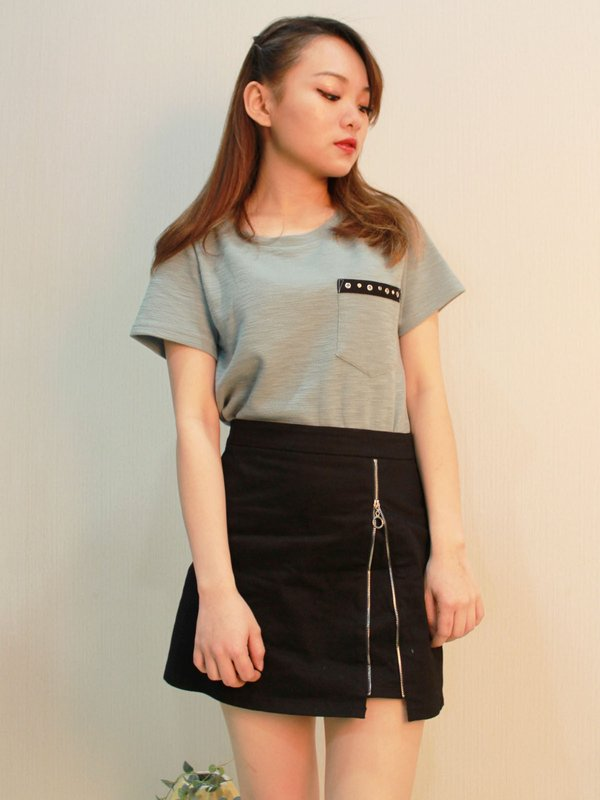 ZIP UP SKIRT (BLACK)