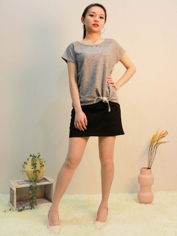 CHARLOTTE BASIC TOP  (HUE GREY)