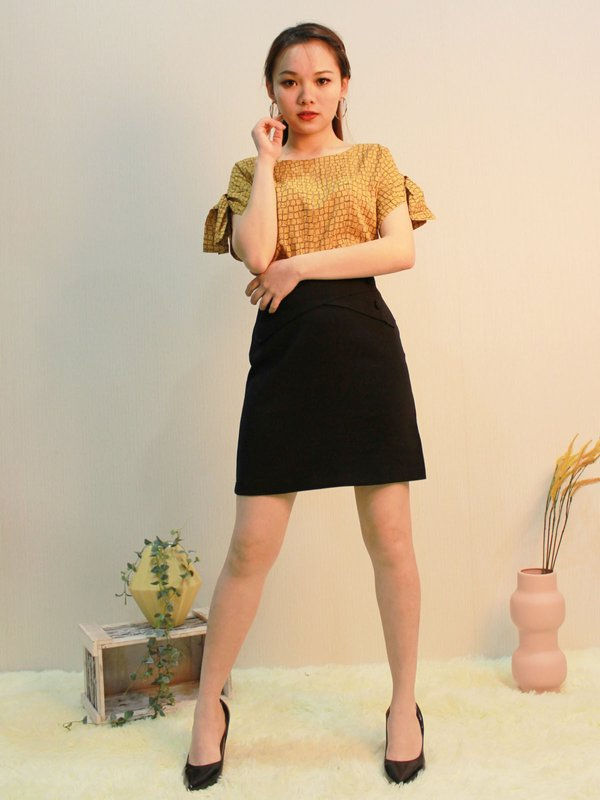 BUTTON WRAP SKIRT (BLACK)