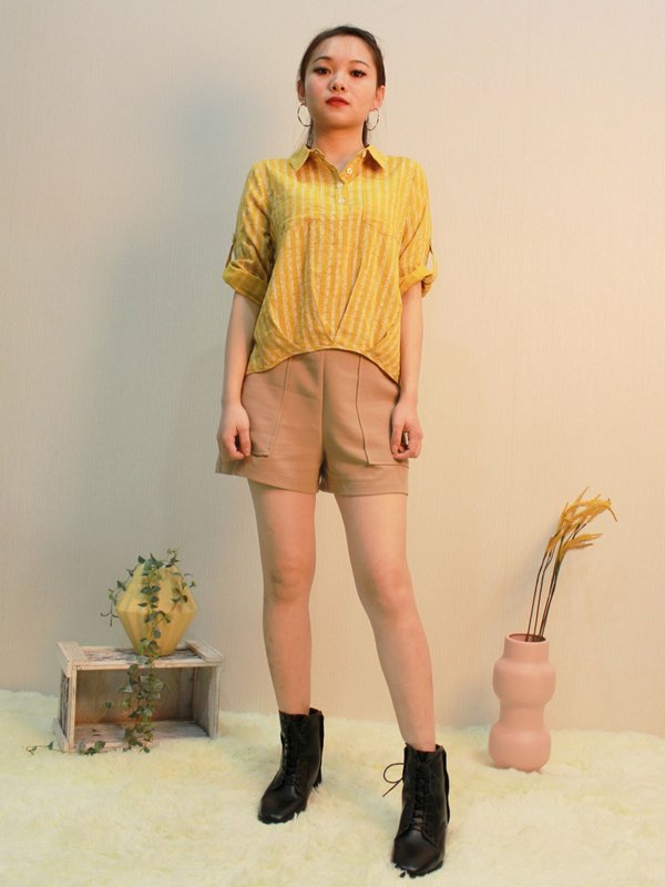 COLLAR THREE QUATER BLOUSE (YELLOW)