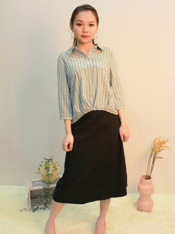COLLAR THREE QUATER BLOUSE (PALE GREEN)