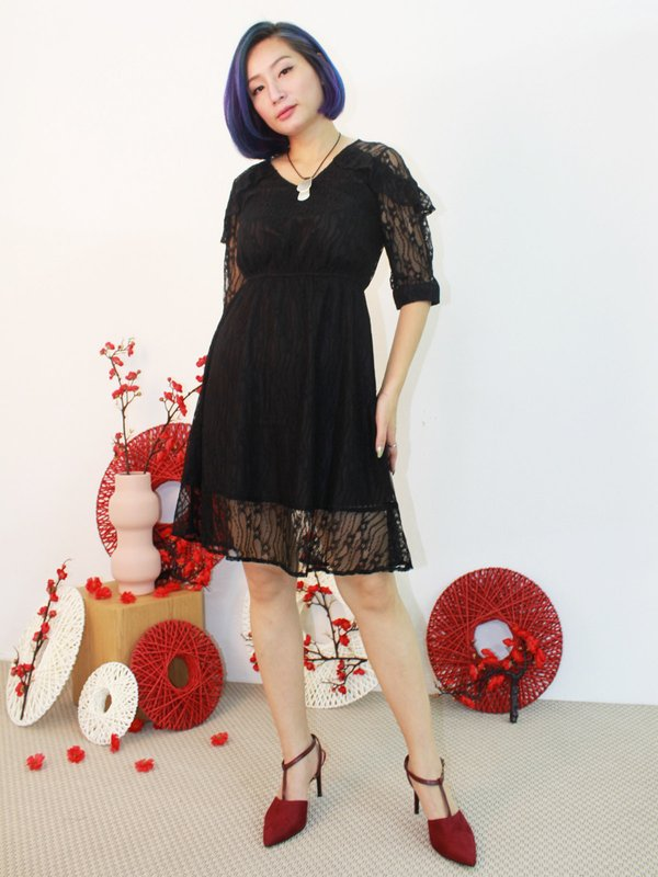 XENA LACE CLASSIC DRESS (BLACK)