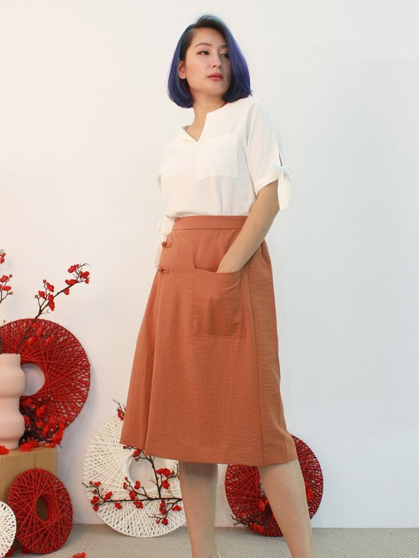 CHINESE KNOT MIDI SKIRT (RUSTIC BROWN)