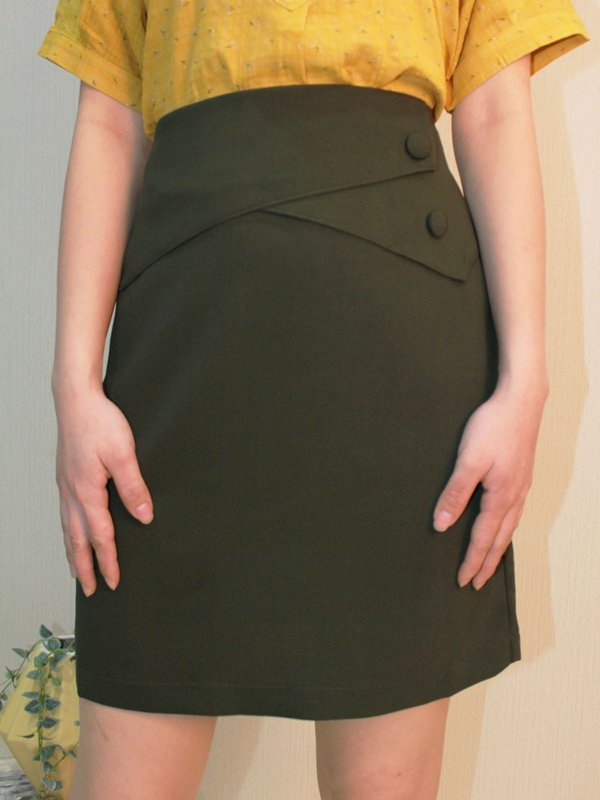 BUTTON WRAP SKIRT (OLIVE)
