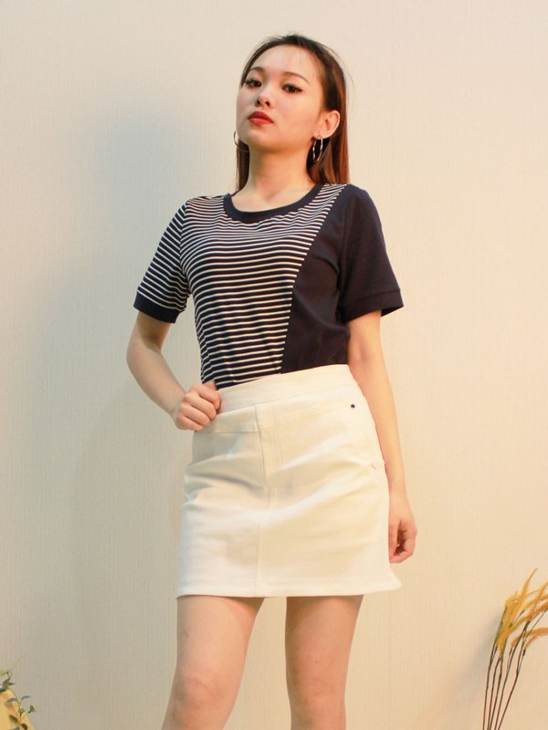 RIVET POCKET SKIRT (CREAM)