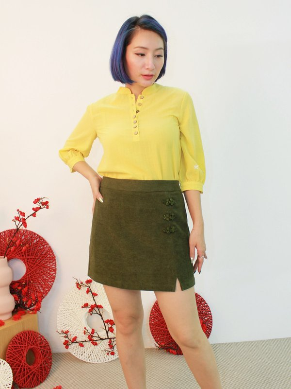 CHINESE KNOT WRAP SKIRT (OLIVE)