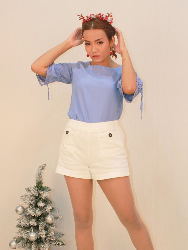 LISS BUTTON SHORTS (CREAM)