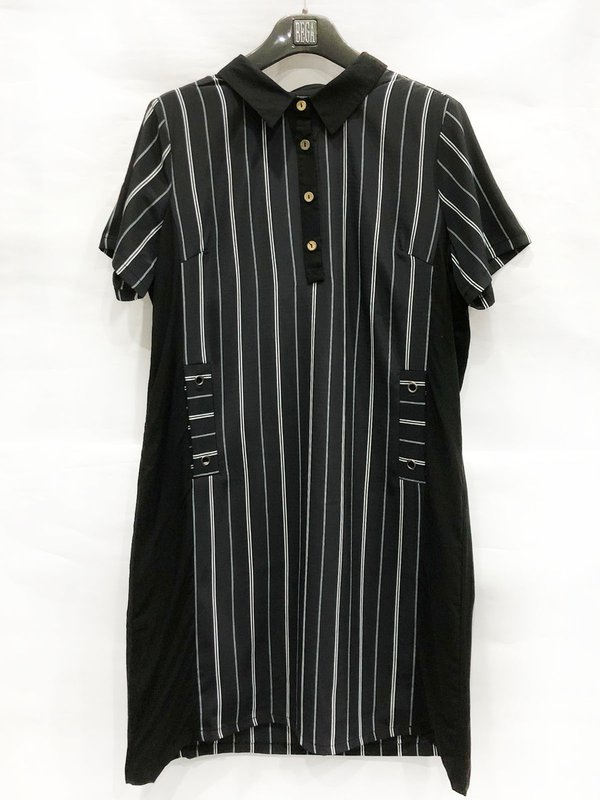 WHITE LINE DESIGN DRESS (BLACK)