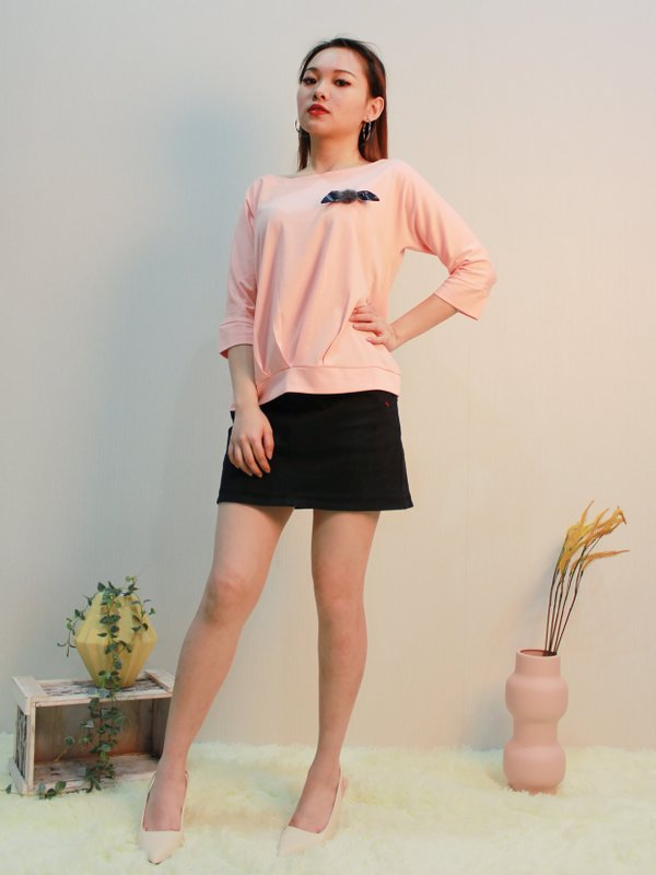 BOAT NECK THREE QUATER SLEEVE BLOUSE (PALE PINK)