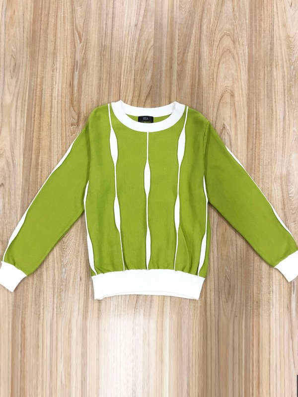 LONG SLEEVE KNIT TOP (PEAR)