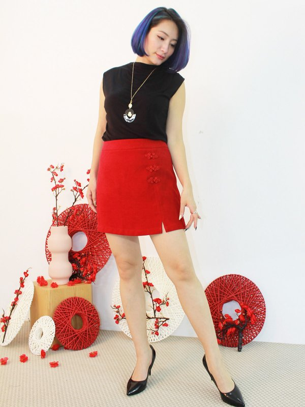 CHINESE KNOT WRAP SKIRT (RED)