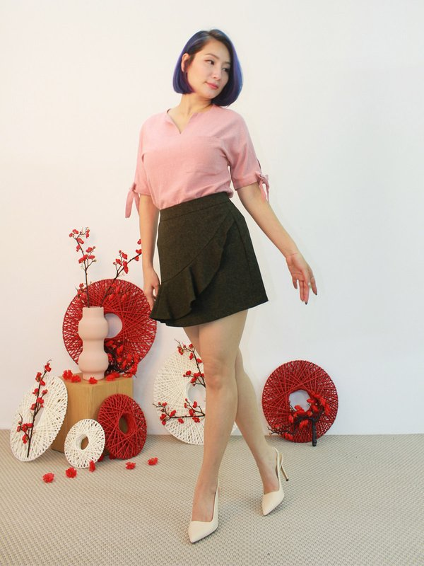GRIM RIBBON SLEEVE TOP (CHAMPAGNE PINK)