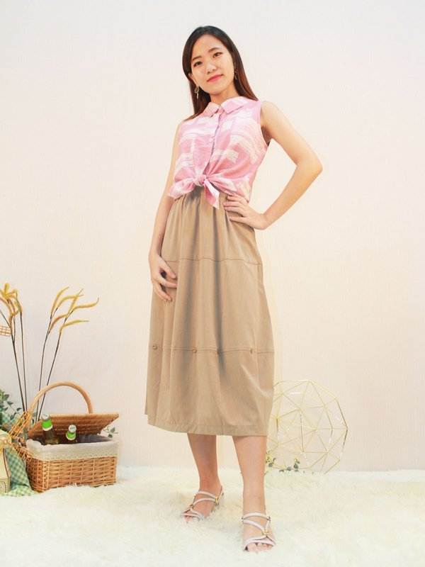 TAWDY SLEEVELESS BLOUSE (LIGHT PINK)
