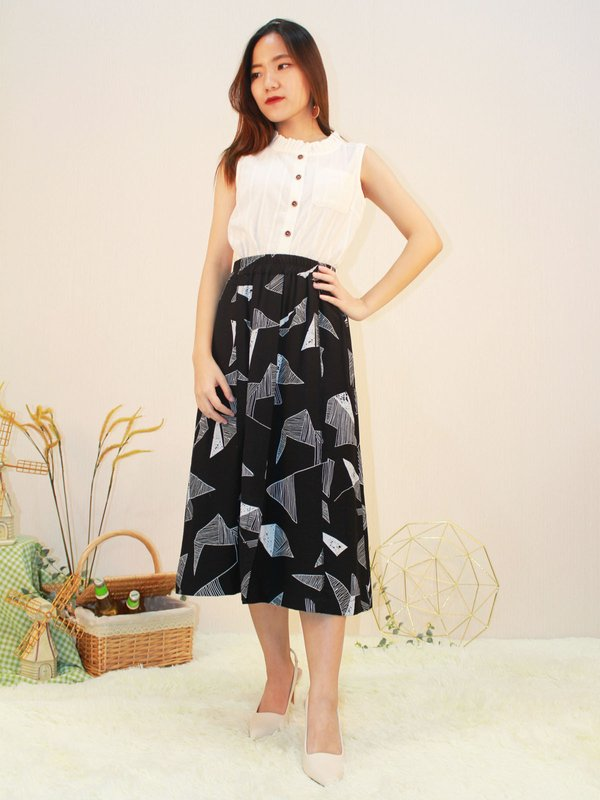 MERTIGNER ABSTRACT MIDI SKIRT(BLACK)