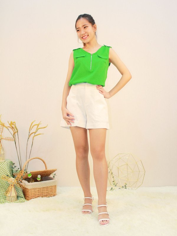 VONNA SLEEVELESS BLOUSE (LIME GREEN)