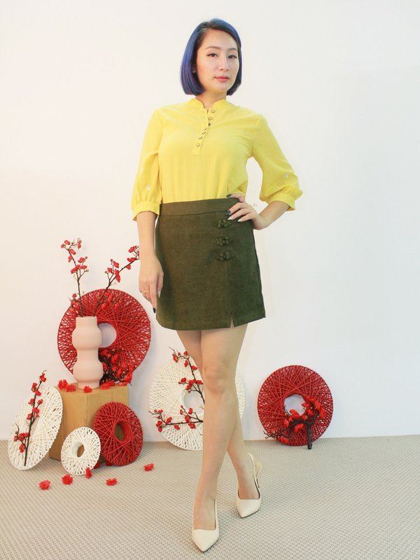 EMBROIDERY SLEEVE BLOUSE (YELLOW)