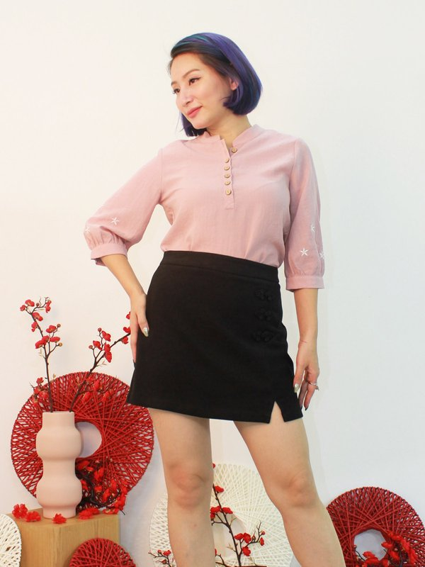 EMBROIDERY SLEEVE BLOUSE (CHMAPAGNE PINK)