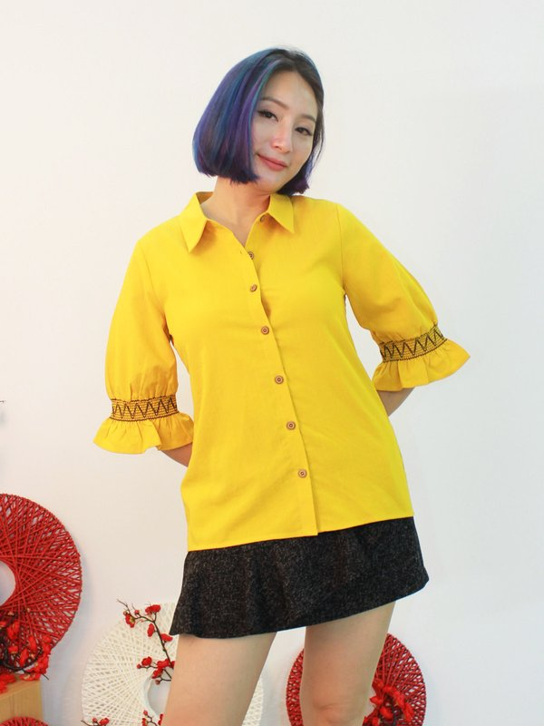 EMBROIDERY RUFFLE SLEEVE BLOUSE (LEMON)